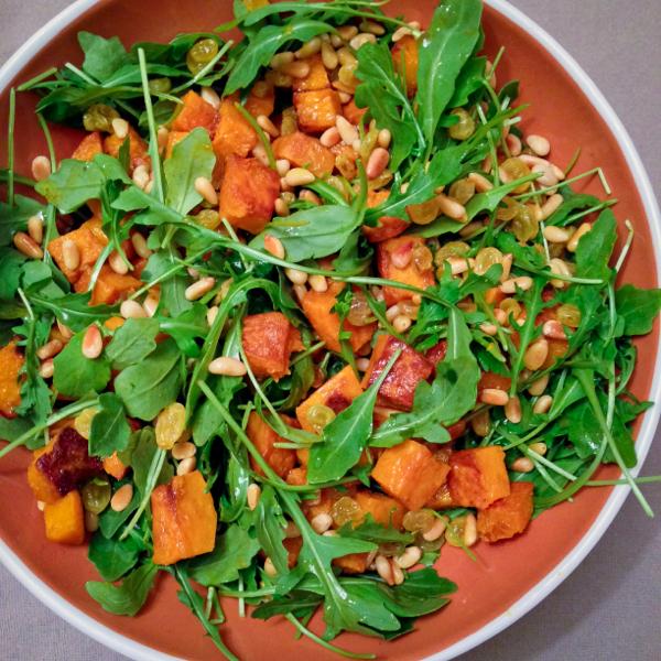 Butternut arugula and pine nut salad from Nigella's Kitchen on eatlivetravelwrite.com