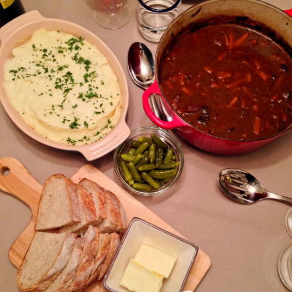 Nigella's beef stew, mashed potatoes, cornichons on eatlivetravelwrite.com