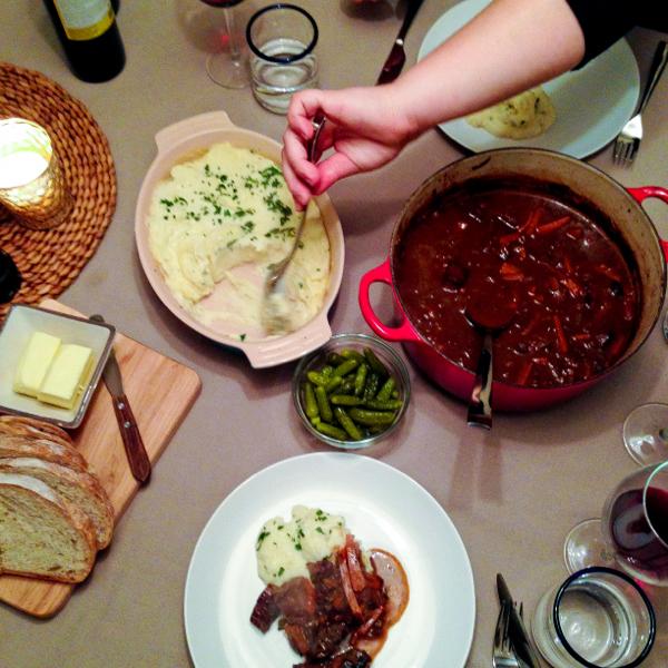 From Nigella's How to Eat beef stew, mashed potatoes, cornichons on eatlivetravelwrite.com