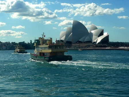 Sydney Harbour with ferries and Opera House on eatlivetravelwrite.com