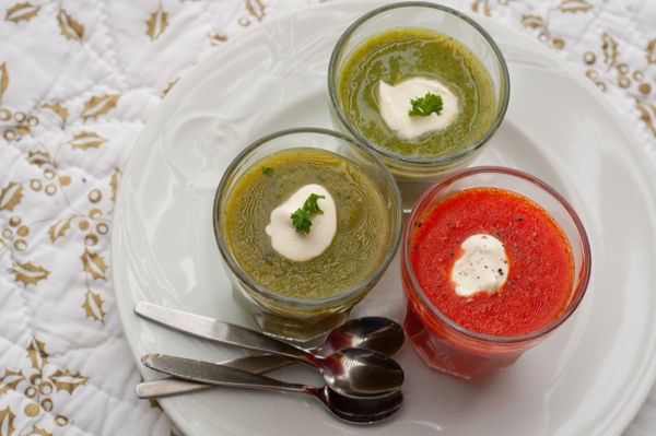 Dorie Greenspan's Asparagus, red pepper and broccoli soups on eatlivetravelwrite.com