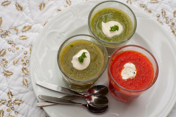 Dorie Greenspan's Asparagus, red pepper and broccoli soups on eatlivetravelwrite.com
