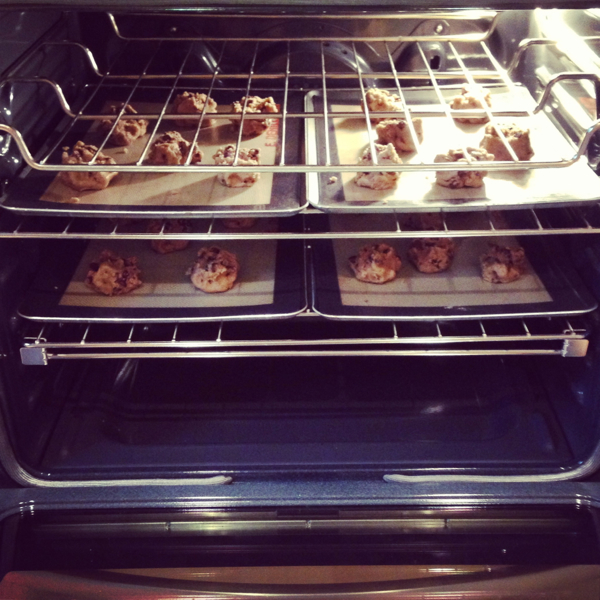 Cookies baking in the KitchenAid oven on eatlivetravelwrite.com