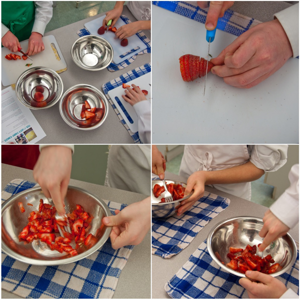 Chopping and mashing strawberries for icing on eatlivetravelwrite.com