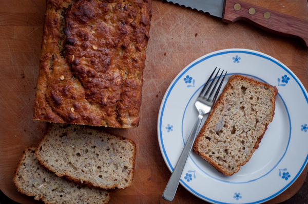Banana bread with bran and oats on eatlivetravelwrite.com