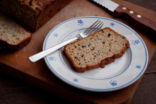 Banana bread with oatbran oats flax and wheatgerm on eatlivetravelwrite.com