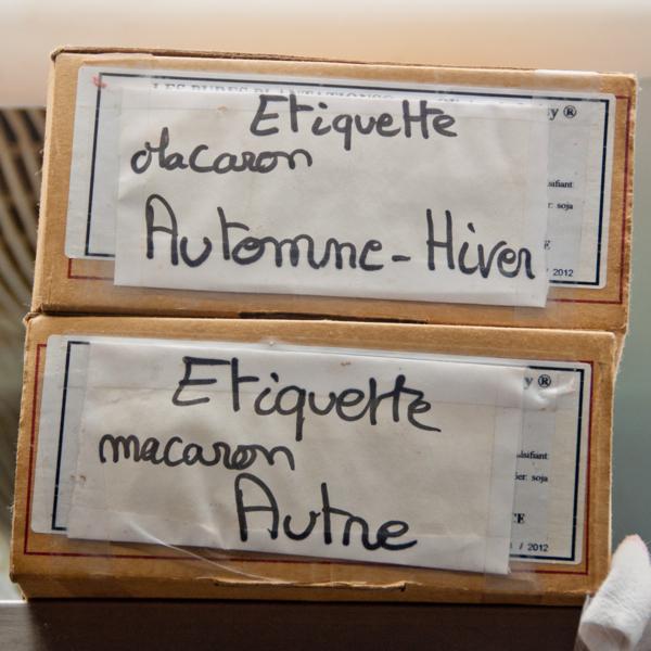 Labels for macarons at Gerard Mulot on eatlivetravelwrite.com
