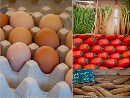 Eggs and vegetables at Marche Baudoyer Paris on eatlivetravelwrite.com