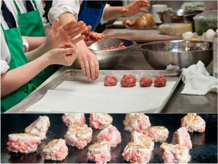 Les Petits Chefs making meatballs at Lisa Marie on eatlivetravelwrite.com
