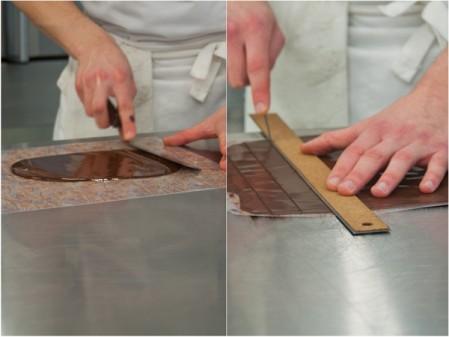 Making chocolate transfers at Bonnie Gordon on eatlivetravelwrite.com
