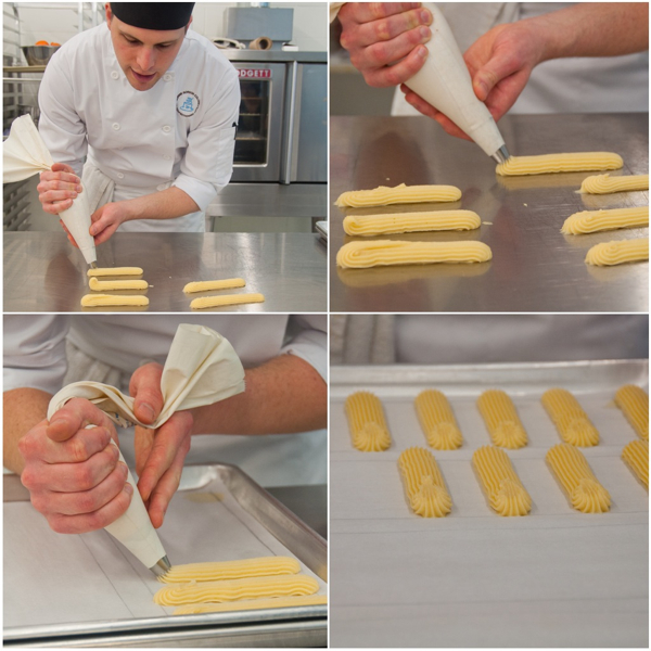 Piping choux pastry at Bonnie Gordon College on eatlivetravelwrite.com