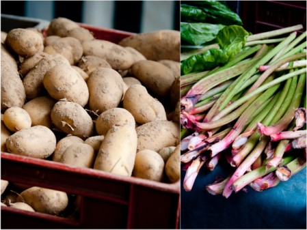 Potatoes and rhubarb at Paris Markets on eatlivetravelwrite.com