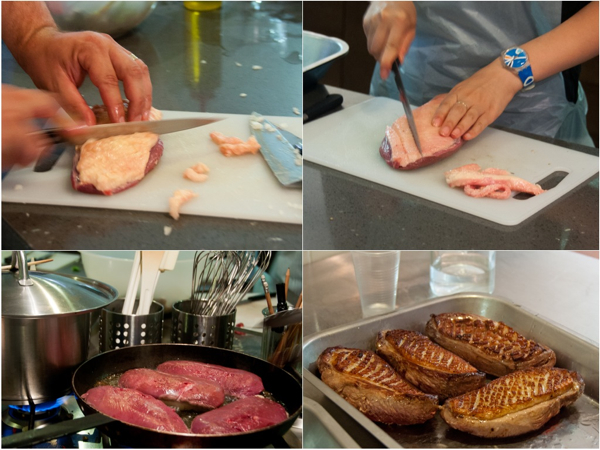 Preparing Magret de canard at La Cuisine Paris on eatlivetravelwrite.com