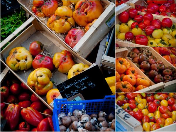 Tomatoes at Paris markets on eatlivetravelwrite.com
