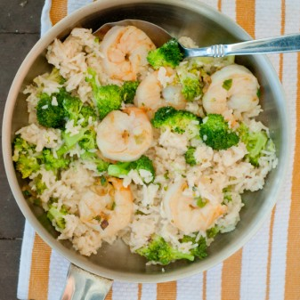 Creamy skillet shrimp and rice on eatlivetravelwrite.com