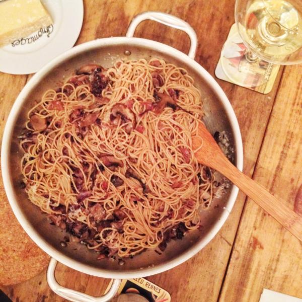 Maria Speck spaghetti with radicchio shallots and bacon on eatlivetravelwrite.com