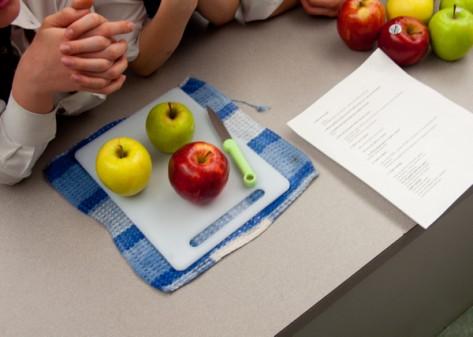 Kids learning about apples from Sarah Elton on eatlivetravelwrite.com