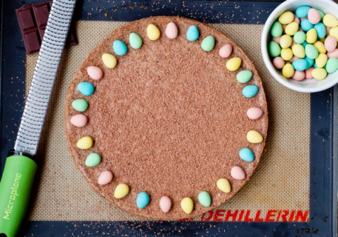 Baked chocolate cheesecake decorated with mini eggs on eatlivetravelwrite.com