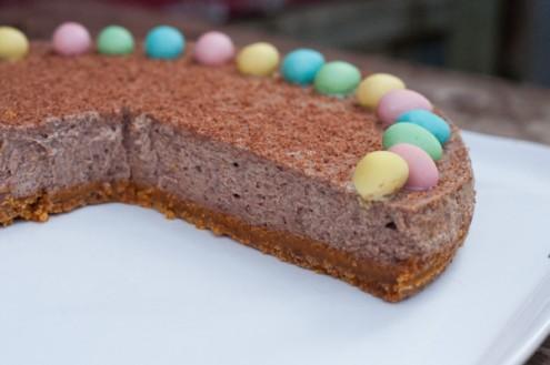 Sliced baked chocolate cheesecake on eatlivetravelwrite.com