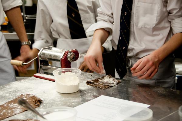 Kids rolling dough to make chocolate ravioli on eatlivetravelwrite.com