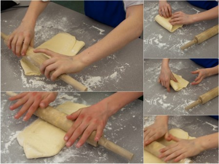 Kids rolling and folding puff pastry on eatlivetravelwrite.com