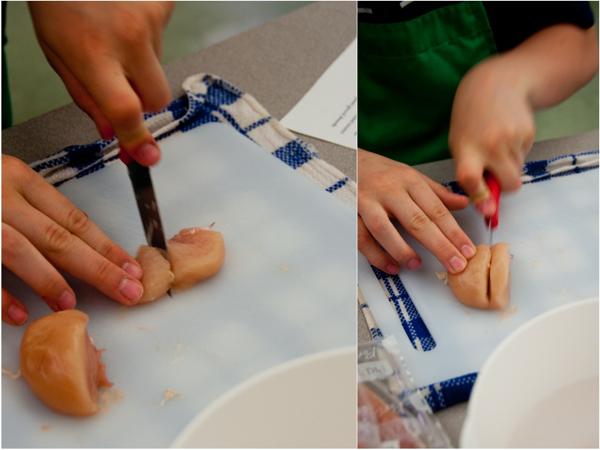 Cutting chicken for Chicken Tikka Masala