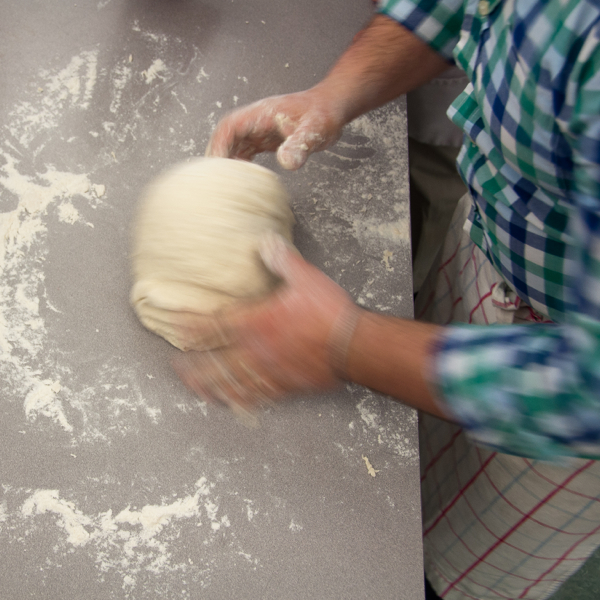 Massimo Bruno kneading pizza dough on eatlivetravelwrite.com