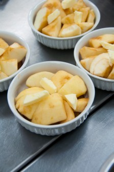 Making mini tarte tatin at Sandrine Pastry Kelowna on eatlivetravelwrite.com