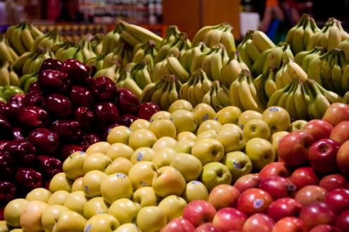 Produce section in the supermarket on eatlivetravelwrite.com