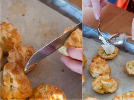 Filling choux with goats cheese on eatlivetravelwrite.com