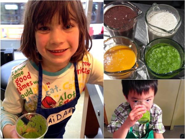 Kids drinking Jamie Oliver super smoothies on eatlivetravelwrite.com