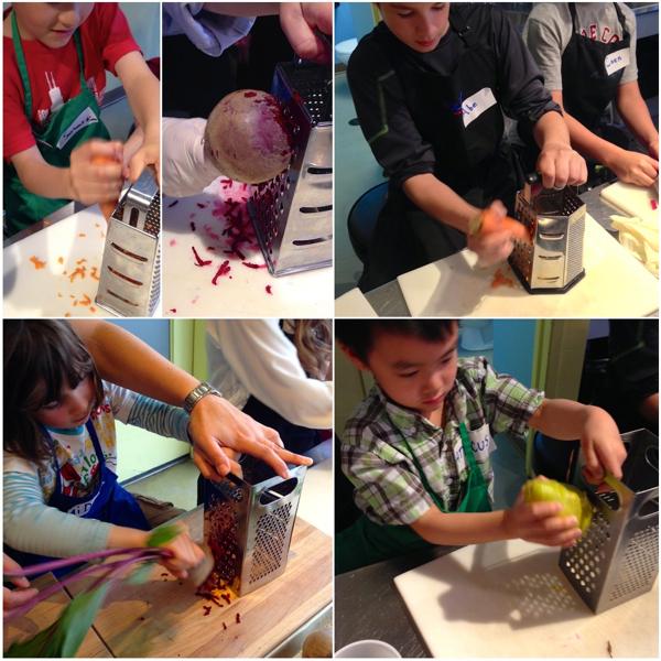 Kids grating vegetables for Jamie Oliver rainbow wraps on eatlivetravelwrite.com