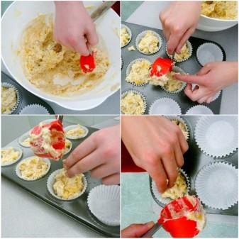 Kids making Jamie Oliver banana bread into muffins on eatlivetravelwrite.com