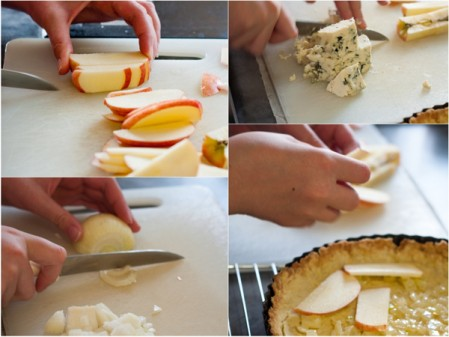 Making gorgonzola and apple quiche on eatlivetravelwrite.com