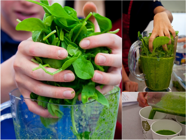 Making spinach and banana smoothies on eatlivetravelwrite.com