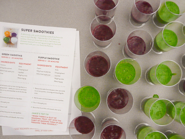 Jamie Oliver FRD2014 green and purple smoothies on eatlivetravelwite.com