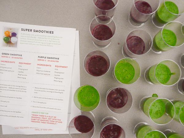 Jamie Oliver FRD2014 green and purple smoothies on eatlivetravelwite.com