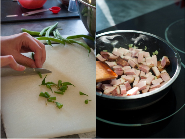 Prepping pancetta and green beans on eatlivetravelwrite.com