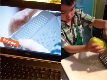 Using the box grater for Jamie Oliver rainbow wraps on eatlivetravelwrite.com