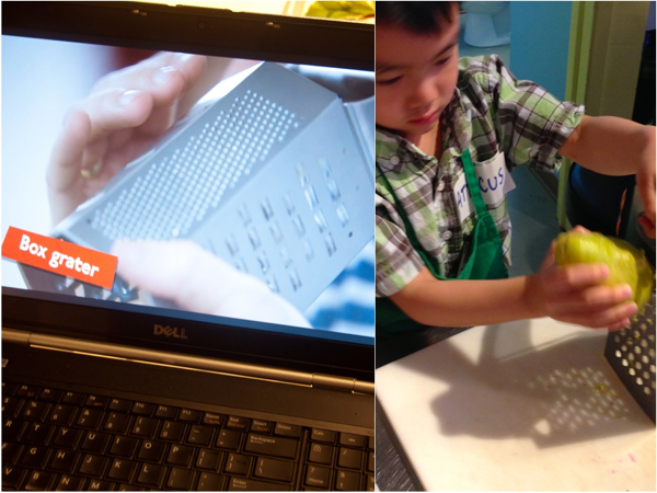 Using the box grater for Jamie Oliver rainbow wraps on eatlivetravelwrite.com