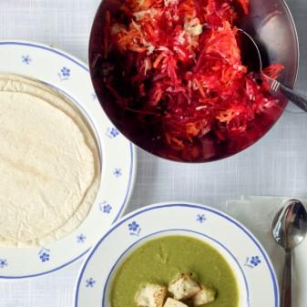 Jamie Oliver rainbow wraps and garden glut soup on eatlivetravelwrite.com