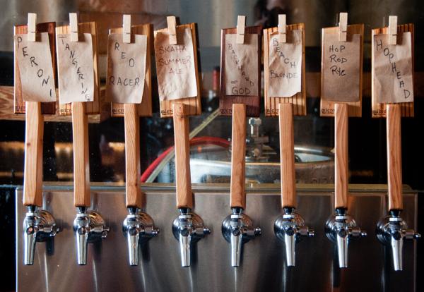 Beer taps at Micro Kelowna on eatlivetravelwrite.com