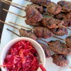Beef and Mushroom kofta with beet slaw on eatlivetravelwrite.com