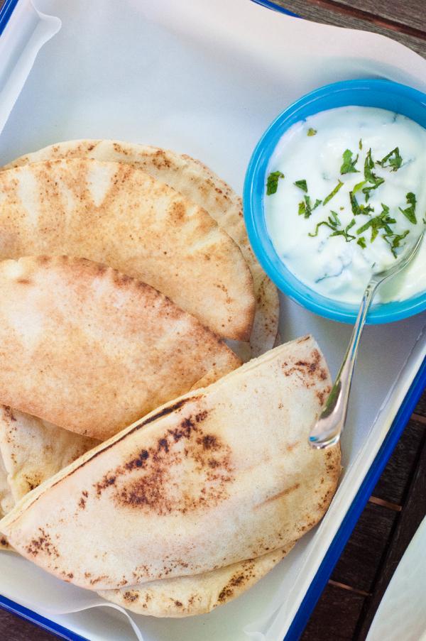 Minted yoghurt dip and pita bread on eatlivetravelwrite.com