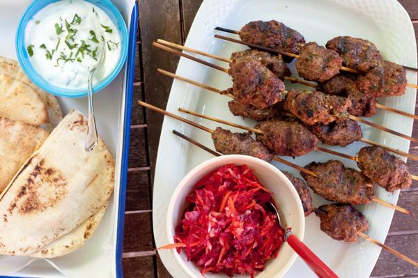 Beef and mushroom kofta with beet slaw and minted yoghurt dip on eatlivetravelwrite.com