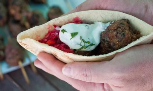 Beef and mushroom kofta with beet slaw and minted yoghurt dip in pita bread pockets on eatlivetravelwrite.com