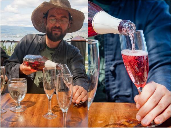 Drinking sparkling rose at Summerhill Pyramid Kelowna on eatlivetravelwrite.com