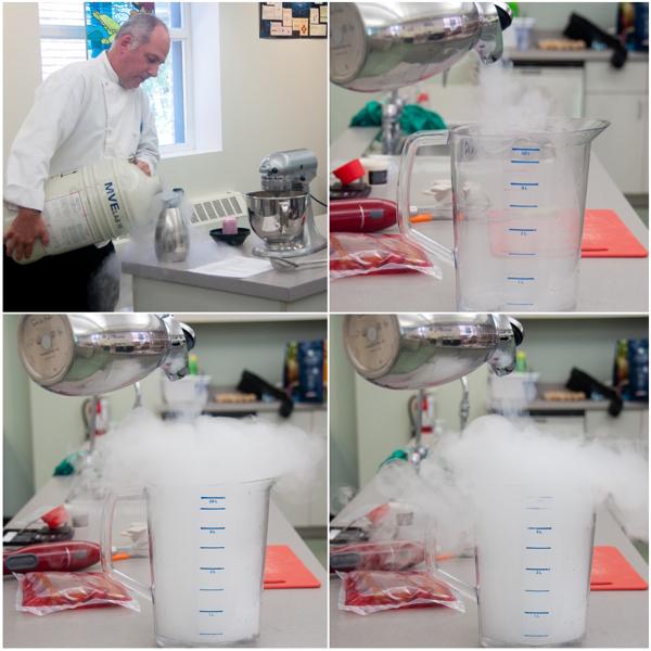 John Placko working with liquid nitrogen on eatlivetravelwrite.com
