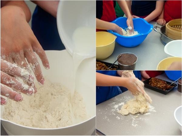 KIds making steamed bun dough on eatlivetravelwrite.com