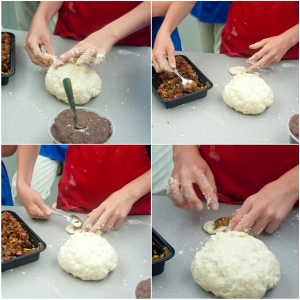 Kids filling steamed pork buns on eatlivetravelwrite.com